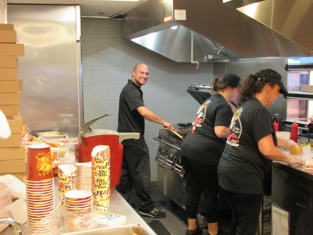 Joe Cooking Burgers